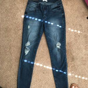 Dark wash distressed jeans!